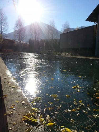 Gefrorenes Wasser, Sonne, Berg (Staufen)